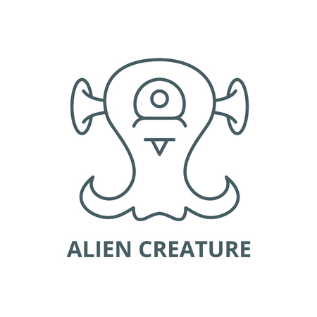 Alien creature line icon, vector. Alien creature outline sign, concept symbol, illustration
