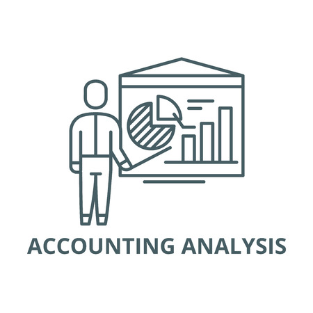 Accounting analysis line icon, vector. Accounting analysis outline sign, concept symbol, illustration Stock Vector - 120731638