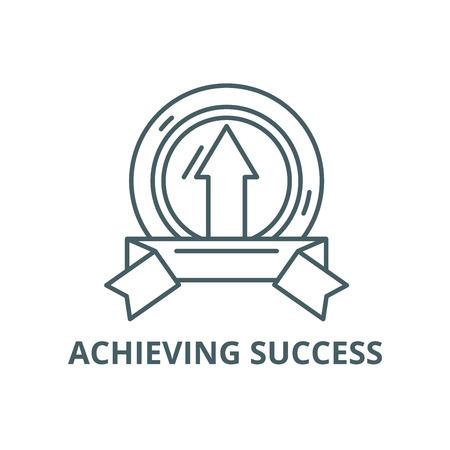 Achieving success line icon, vector. Achieving success outline sign, concept symbol, illustration