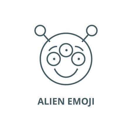 Alien emoji line icon, vector. Alien emoji outline sign, concept symbol, illustration