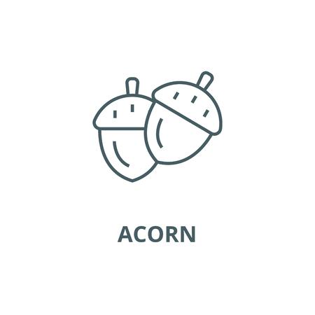 Acorn line icon, vector. Acorn outline sign, concept symbol, illustration