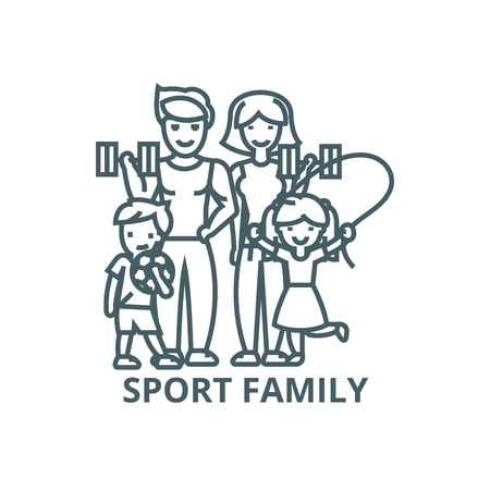 Active happy family in sport gym line icon, vector. Active happy family in sport gym outline sign, concept symbol, illustration Illusztráció