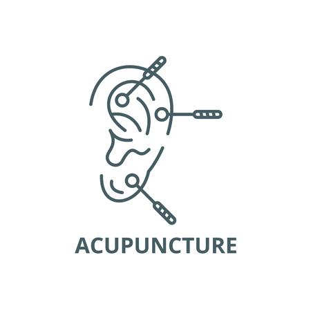 Icône de ligne d'acupuncture, vecteur. Signe de contour d'acupuncture, symbole de concept, illustration Vecteurs
