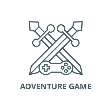 Adventure game line icon, vector. Adventure game outline sign, concept symbol, illustration