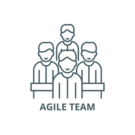 Agile team line icon, vector. Agile team outline sign, concept symbol, illustration