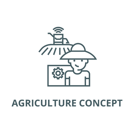 Agriculture concept line icon, vector. Agriculture concept outline sign, concept symbol, illustration