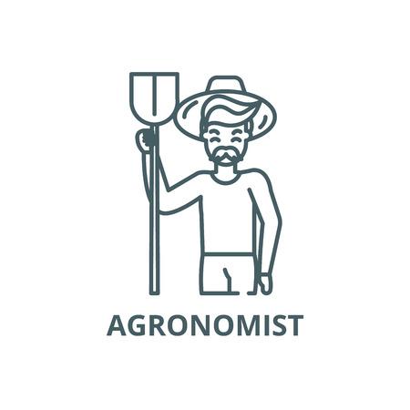 Agronomist line icon, vector. Agronomist outline sign, concept symbol, illustration  イラスト・ベクター素材