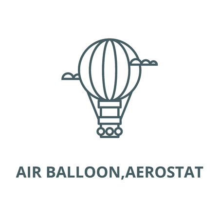Air balloon,aerostat line icon, vector. Air balloon,aerostat outline sign, concept symbol, illustration