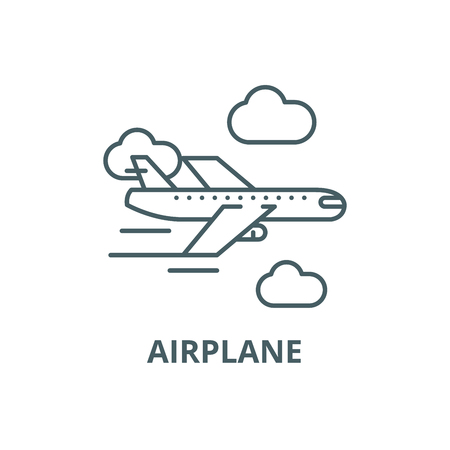 Airplane line icon, vector. Airplane outline sign, concept symbol, illustration