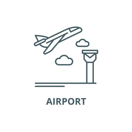 Airport line icon, vector. Airport outline sign, concept symbol, illustration Ilustrace