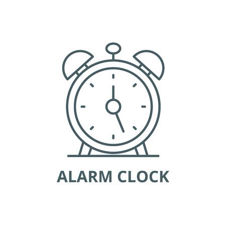 Alarm clock line icon, vector. Alarm clock outline sign, concept symbol, illustration Ilustração
