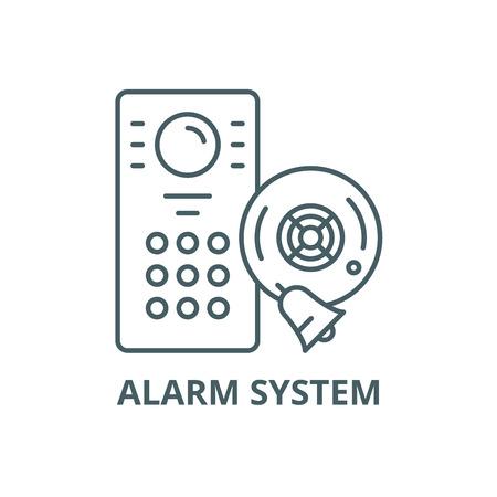 Alarm system line icon, vector. Alarm system outline sign, concept symbol, illustration Standard-Bild - 123789848
