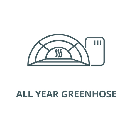 All year greenhose line icon, vector. All year greenhose outline sign, concept symbol, illustration