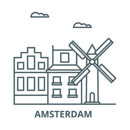 Icono de línea de Amsterdam, vector. Signo de contorno de Amsterdam, símbolo conceptual, Ilustración