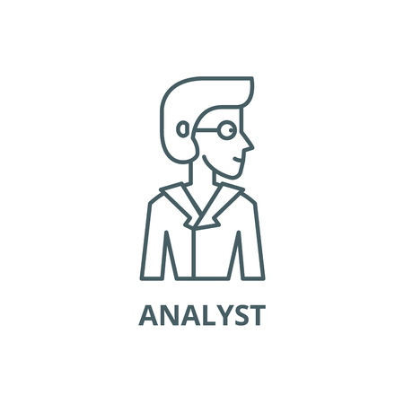 Analyst line icon, vector. Analyst outline sign, concept symbol, illustration