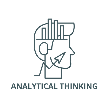 Analytical thinking line icon, vector. Analytical thinking outline sign, concept symbol, illustration Illustration