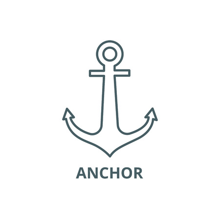 Anchor line icon, vector. Anchor outline sign, concept symbol, illustration