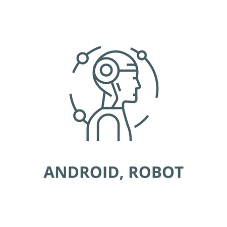 robot line icon vector robot outline sign, concept symbol, illustration