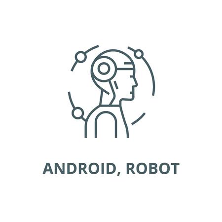 robot line icon vector robot outline sign, concept symbol, illustration