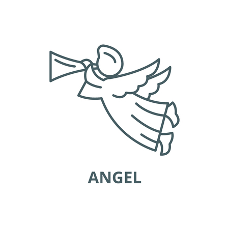 Angel line icon, vector. Angel outline sign, concept symbol, illustration  イラスト・ベクター素材