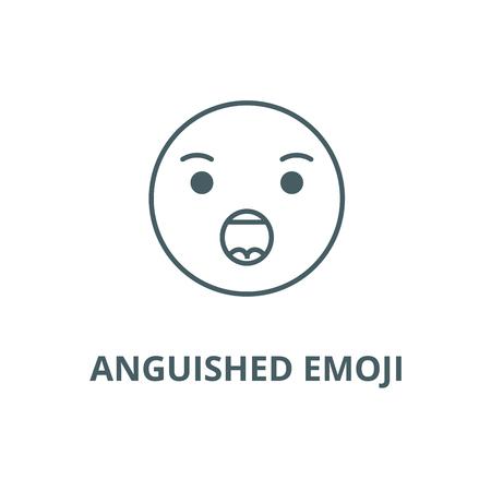 Anguished emoji line icon, vector. Anguished emoji outline sign, concept symbol, illustration