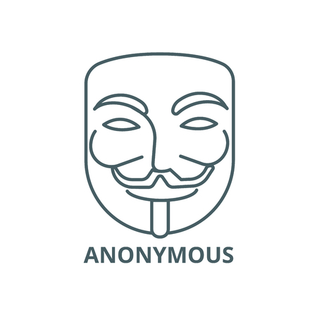 Anonymous,mask carnival,hacker line icon, vector. Anonymous,mask carnival,hacker outline sign, concept symbol, illustration Ilustrace