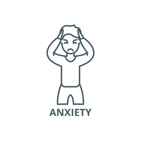 Anxiety line icon, vector. Anxiety outline sign, concept symbol, illustration