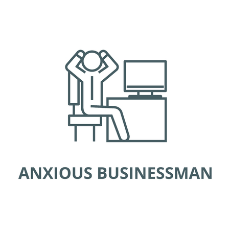 Anxious businessman in office line icon, vector. Anxious businessman in office outline sign, concept symbol, illustration  イラスト・ベクター素材