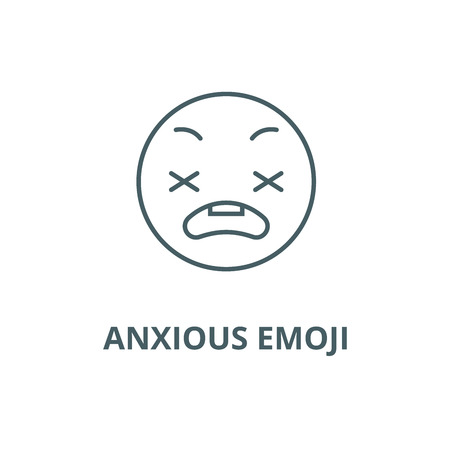 Anxious emoji line icon, vector. Anxious emoji outline sign, concept symbol, illustration