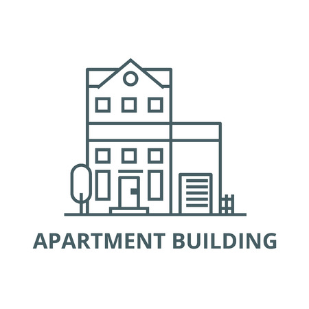 Apartment building line icon, vector. Apartment building outline sign, concept symbol, illustration