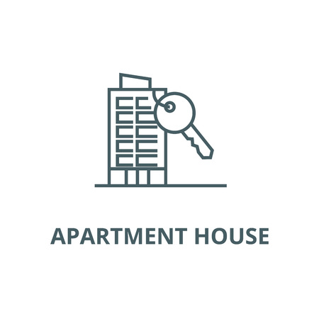 Apartment house with key line icon, vector. Apartment house with key outline sign, concept symbol, illustration