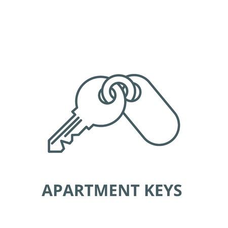 Apartment keys  line icon, vector. Apartment keys  outline sign, concept symbol, illustration