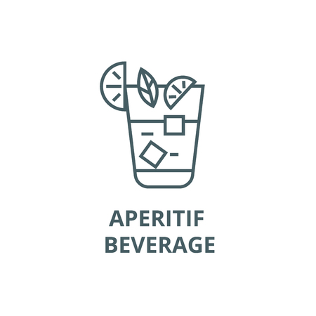 Aperitif, beverage line icon, vector. Aperitif, beverage outline sign, concept symbol, illustration
