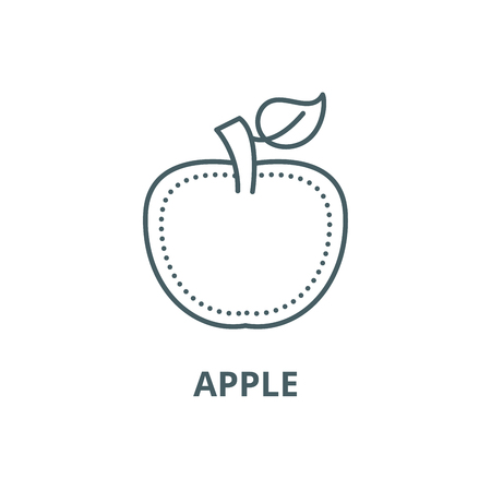 Apple line icon, vector. Apple outline sign, concept symbol, illustration