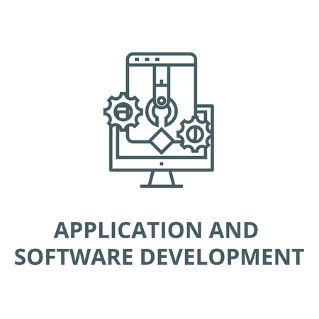 Application and software develop line icon, vector. Application and software develop outline sign, concept symbol, illustration Stock Illustratie