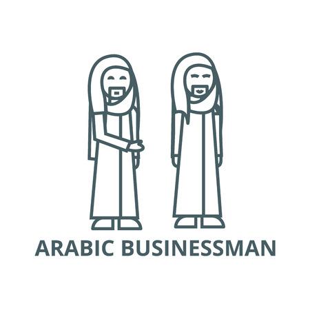 Arabic businessman line icon, vector. Arabic businessman outline sign, concept symbol, illustration