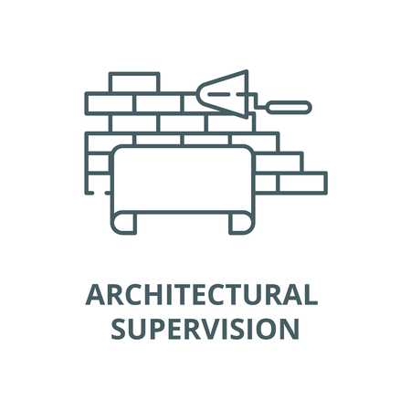 Architectural supervision line icon, vector. Architectural supervision outline sign, concept symbol, illustration Illustration