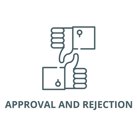 Approval and rejection line icon, vector. Approval and rejection outline sign, concept symbol, illustration