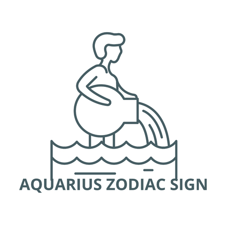 Aquarius zodiac sign line icon, vector. Aquarius zodiac sign outline sign, concept symbol, illustration