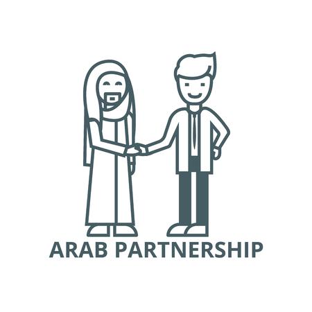 Arab business,partnership line icon, vector. Arab business,partnership outline sign, concept symbol, illustration