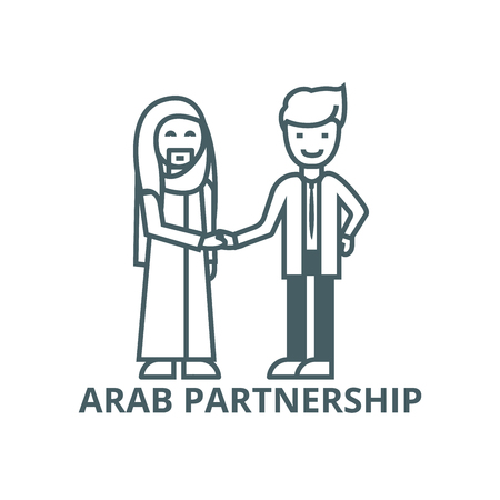 Arab business,partnership line icon, vector. Arab business,partnership outline sign, concept symbol, illustration