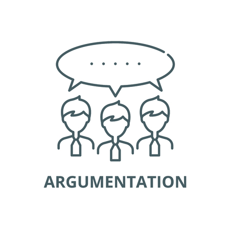 Argumentationslinie Symbol, Vektor. Argumentationsumrisszeichen, Konzeptsymbol, Illustration Vektorgrafik