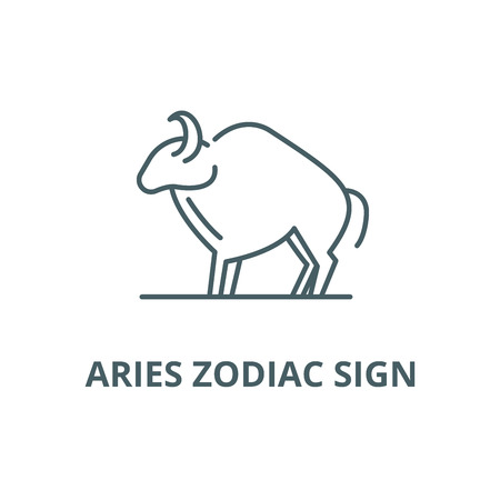 Aries zodiac sign line icon, vector. Aries zodiac sign outline sign, concept symbol, illustration