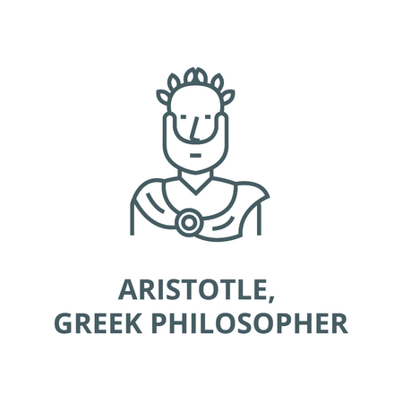 Aristotle, greek philosopher line icon, vector. Aristotle, greek philosopher outline sign, concept symbol, illustration