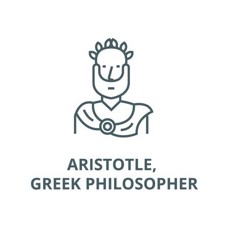 Aristotle, greek philosopher line icon, vector. Aristotle, greek philosopher outline sign, concept symbol, illustration