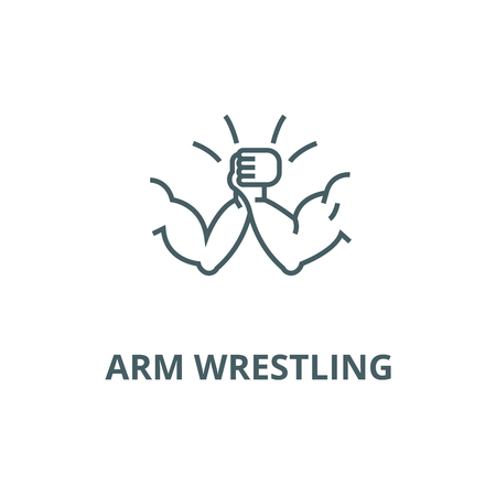 Arm wrestling line icon, vector. Arm wrestling outline sign, concept symbol, illustration