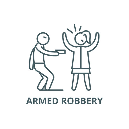 Armed robbery line icon, vector. Armed robbery outline sign, concept symbol, illustration