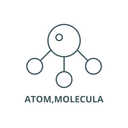 Atom,molecula line icon, vector. Atom,molecula outline sign, concept symbol, illustration Foto de archivo - 120731911