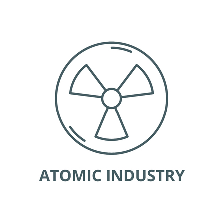 Atomic industry line icon, vector. Atomic industry outline sign, concept symbol, illustration
