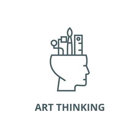 Art thinking line icon, vector. Art thinking outline sign, concept symbol, illustration Ilustração